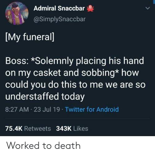 Casket: Admiral Snaccbar  @SimplySnaccbar  [My funerall  Boss: *Solemnly placing his hand  on my casket and sobbing* how  could you do this to me we are so  understaffed today  8:27 AM 23 Jul 19 Twitter for Android  75.4K Retweets 343K Likes Worked to death