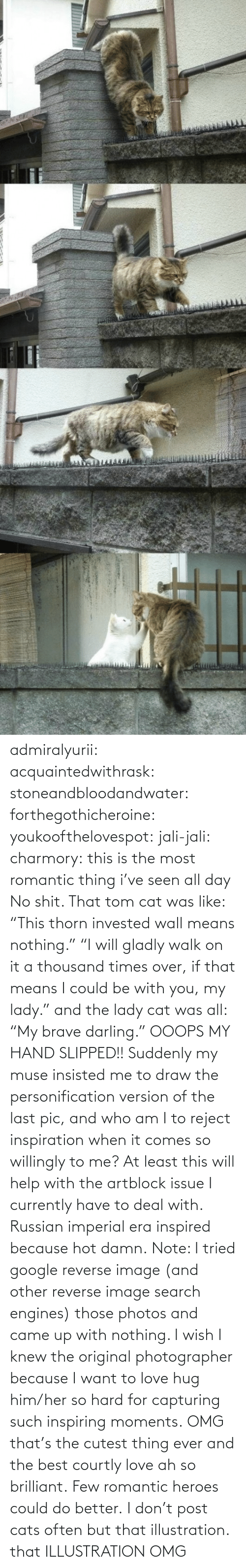 "era: admiralyurii: acquaintedwithrask:  stoneandbloodandwater:  forthegothicheroine:  youkoofthelovespot:  jali-jali:  charmory:  this is the most romantic thing i've seen all day  No shit. That tom cat was like: ""This thorn invested wall means nothing."" ""I will gladly walk on it a thousand times over, if that means I could be with you, my lady."" and the lady cat was all: ""My brave darling."" OOOPS MY HAND SLIPPED!!  Suddenly my muse insisted me to draw the personification version of the last pic, and who am I to reject inspiration when it comes so willingly to me? At least this will help with the artblock issue I currently have to deal with. Russian imperial era inspired because hot damn. Note: I tried google reverse image (and other reverse image search engines) those photos and came up with nothing. I wish I knew the original photographer because I want to love hug him/her so hard for capturing such inspiring moments.  OMG that's the cutest thing ever and the best courtly love ah so brilliant.  Few romantic heroes could do better.  I don't post cats often but that illustration.  that ILLUSTRATION    OMG"