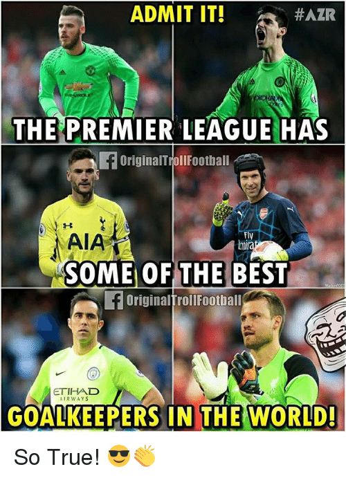 Football, Memes, and True: ADMIT IT!  #AZR  THE PREMIERLEAGUE HAS  OriginalTroll Football  AIA  Fly  SOME OF THE BEST  OriginalTroll Football  ETIHAD  AIR WAYS  GOALKEEPERS IN THE WORLD! So True! 😎👏