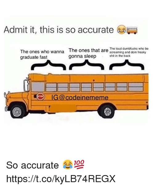 Memes, Shit, and Back: Admit it, this is so accurate  The ones who wanna  graduate fast  The ones that are The loug dumblucks who be  screaming and doin freaky  shit in the back  G@codeinememe So accurate 😂💯 https://t.co/kyLB74REGX