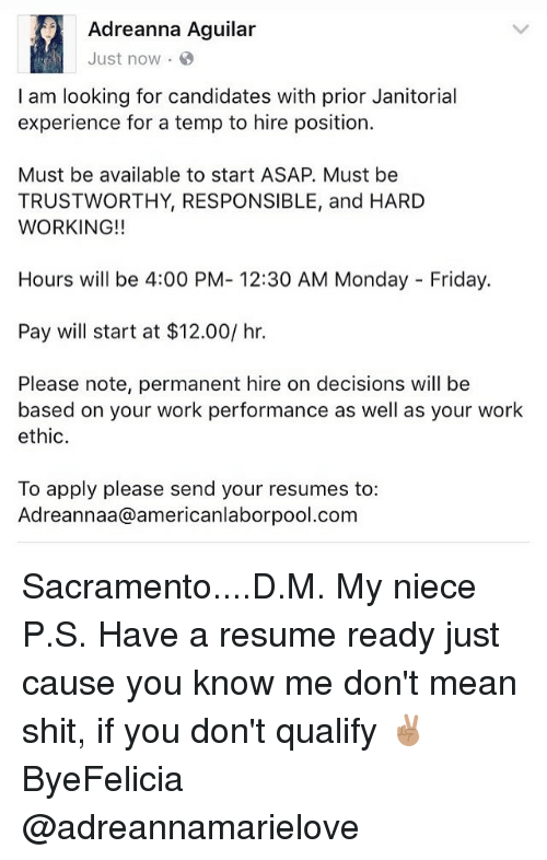 adreanna aguilar just now i am looking for candidates with prior
