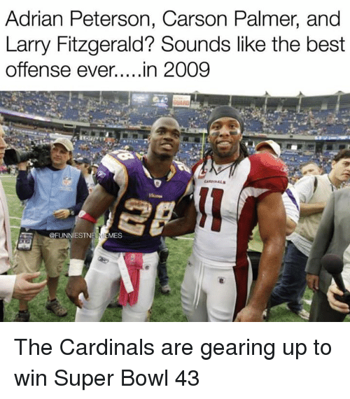 Adrian Peterson, Carson Palmer, and Larry Fitzgerald: Adrian Peterson, Carson Palmer, and  Larry Fitzgerald? Sounds like the best  Offense ever....in 2009  @FUNNIESTNELMEMES The Cardinals are gearing up to win Super Bowl 43