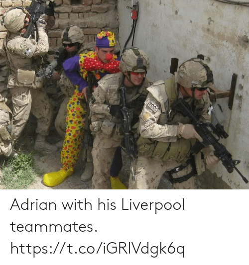 Liverpool F.C.: Adrian with his Liverpool teammates. https://t.co/iGRlVdgk6q