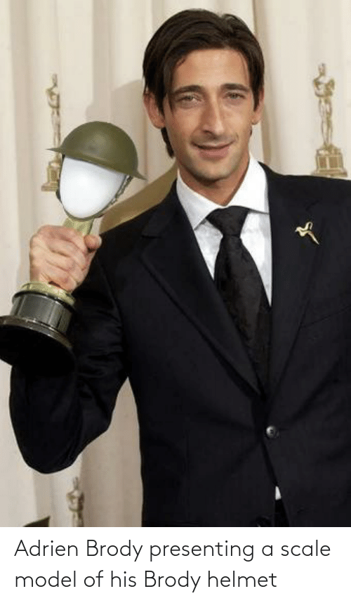 helmet: Adrien Brody presenting a scale model of his Brody helmet