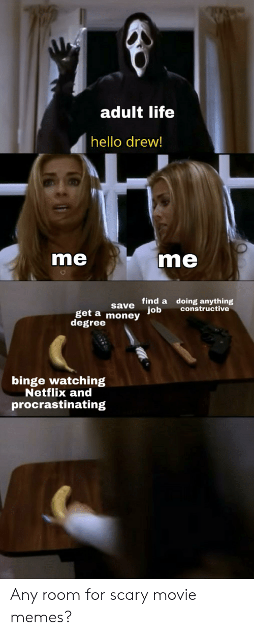Movie Memes: adult life  hello drew!  me  me  save Tind a doing anything  job  constructive  get a  degree money  binge watching  Netflix and  procrastinating Any room for scary movie memes?