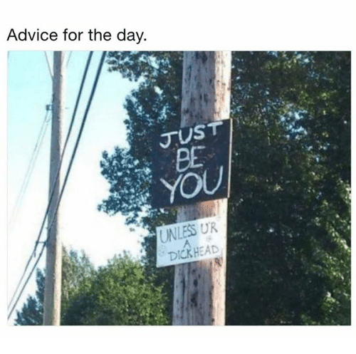 Advice, Dank, and 🤖: Advice for the day.  JUST  RE  DICKHEAD