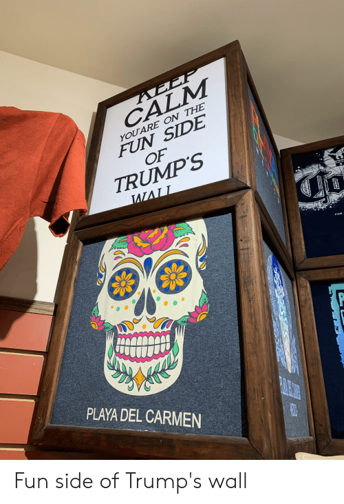 Trumps Wall: AEEF  CALM  YOU ARE ON THE  FUN SIDE  OF  TRUMP'S  FOR  PLAYA DEL CARMEN  SUST Fun side of Trump's wall