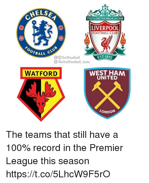 west ham: AELSE  YOU'LL NEVER WALK ALONE  LIVERPOOL  FOOTBALL CLUB  OOTBALL  EST 189  The TrollFootball Insta  WATFORD  WEST HAM  UNITED  LONDON The teams that still have a 100% record in the Premier League this season https://t.co/5LhcW9F5rO
