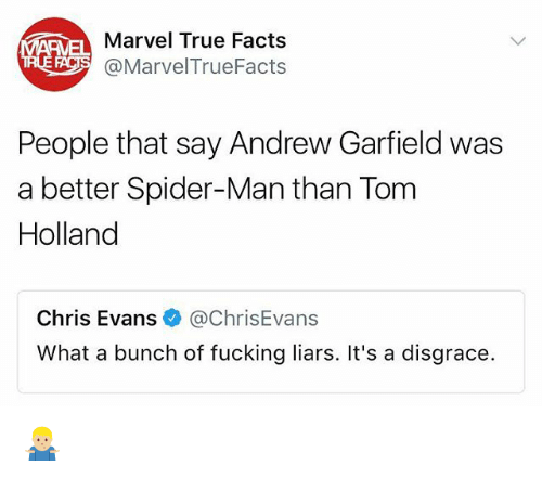 Andrew Garfield: AEMELMarvel True Facts  EA@Marvel TrueFacts  People that say Andrew Garfield was  a better Spider-Man than Tom  Holland  Chris Evans@ChrisEvans  What a bunch of fucking liars. It's a disgrace. 🤷🏼♂️