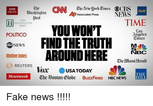 Abc, Fake, and Memes: Aenvuork Times OC  BBS  HLN  tuushington.  NEWS  AP Associated Press  NEWS  post  THE  TIME  HUFFINGTON  POST  YOU WON'T  Sos  POLITICO  Angeles  NEWS  FIND THE TRUTH  dimes  abc  Mothe Jones  AROUND HERE  NBC  ChelHiami Herald  REUTERS  Vor  a USA TODAY  THE  Newsweek  The IBoston Globe BuzzFeeD  NBC NEWS  HILL Fake news !!!!!