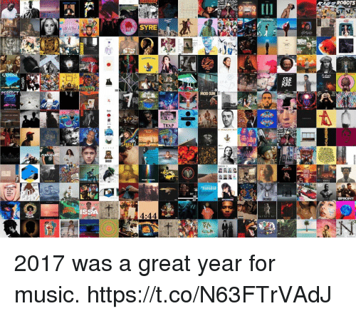 Music, Girl Memes, and Sun: AES ROBOTS  SYRE  MOD SUN  COLOURS 2  IS  4:44 2017 was a great year for music. https://t.co/N63FTrVAdJ