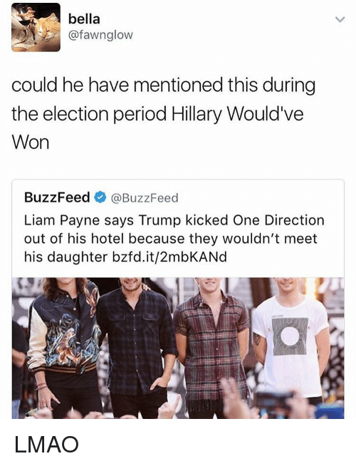 Memes, 🤖, and Daughter: afawng low  could he have mentioned this during  the election period Hillary Would've  Won  BuzzFeed  @BuzzFeed  Liam Payne says Trump kicked One Direction  out of his hotel because they wouldn't meet  his daughter bzfd.it/2mbKANd LMAO