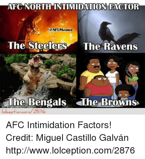 Steelers: AFC NORTH INTIMIDATION FACTOR  NFLMemez  The Steelers  The Ravens  The Bengals The Browns  2876 AFC Intimidation Factors!