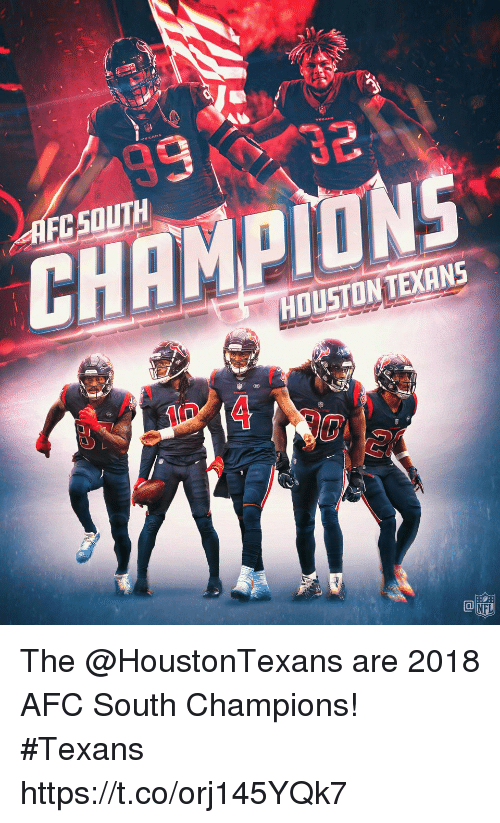 Afc South: AFCSOUTH  CHAMPIONS  HOUSTONTEXANS  CO  NFL The @HoustonTexans are 2018 AFC South Champions! #Texans https://t.co/orj145YQk7