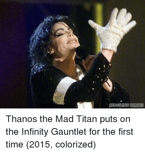 infinity gauntlet: AFPUGETTU IMAGES Thanos the Mad Titan puts on the Infinity Gauntlet for the first time (2015, colorized)