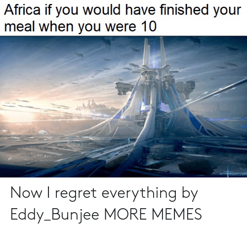 Eddy: Africa if you would have finished your  meal when you were 10 Now I regret everything by Eddy_Bunjee MORE MEMES