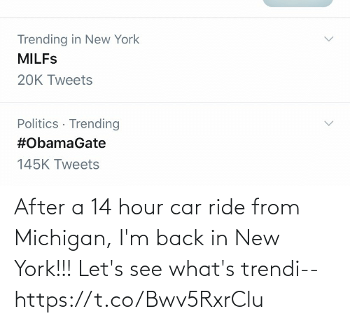 ride: After a 14 hour car ride from Michigan, I'm back in New York!!! Let's see what's trendi-- https://t.co/Bwv5RxrClu