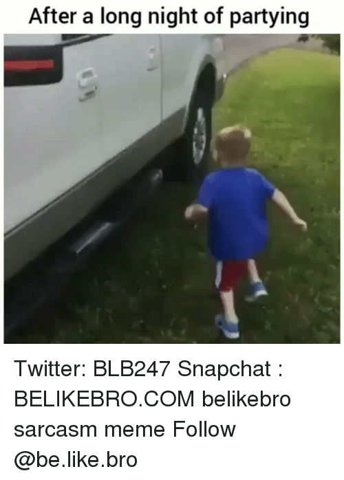 Be Like, Meme, and Memes: After a long night of partying Twitter: BLB247 Snapchat : BELIKEBRO.COM belikebro sarcasm meme Follow @be.like.bro