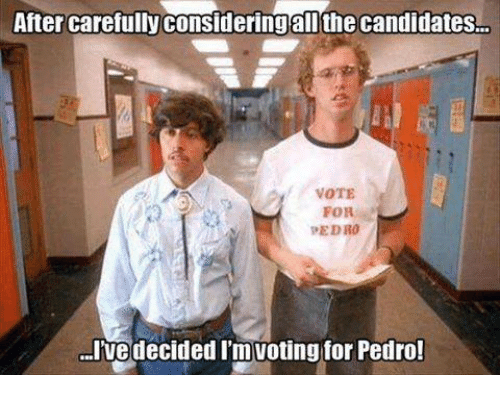 vote for pedro: After carefully consideringalOthe candidates  VOTE  FOR  PEDRO  I've decided Im Voting for Pedro!