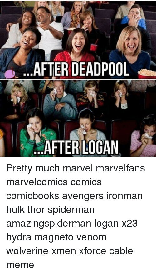 Spidermane: AFTER DEADPOOL  AFTER LOGAN Pretty much marvel marvelfans marvelcomics comics comicbooks avengers ironman hulk thor spiderman amazingspiderman logan x23 hydra magneto venom wolverine xmen xforce cable meme