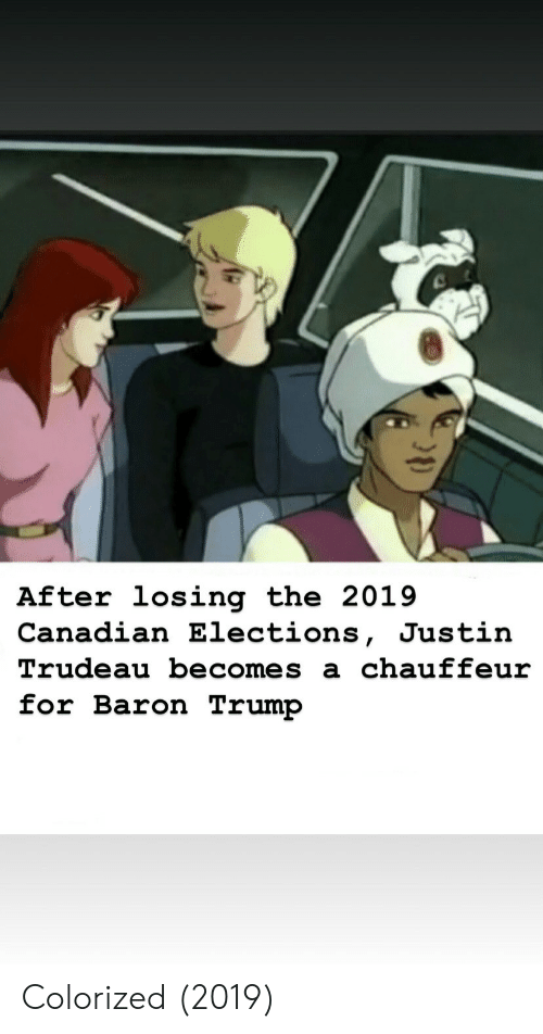 chauffeur: After losing the 2019  Canadian Elections, Justin  Trudeau becomes a chauffeur  for Baron Trump Colorized (2019)