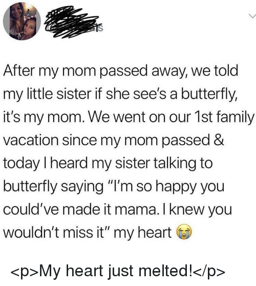"Family, Butterfly, and Happy: After my mom passed away, we told  my little sister if she see's a butterfly,  it's my mom. We went on our 1st family  vacation since my mom passed &  today I heard my sister talking to  butterfly saying ""I'm so happy you  could've made it mama. l knew you  wouldn't miss it"" my heart <p>My heart just melted!</p>"