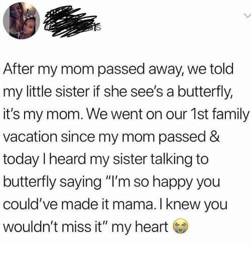 "Family, Butterfly, and Happy: After my mom passed away, we told  my little sister if she see's a butterfly,  it's my mom. We went on our 1st family  vacation since my mom passed &  today Iheard my sister talking to  butterfly saying ""I'm so happy you  could've made it mama. I knew you  wouldn't miss it"" my heart"