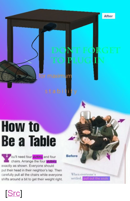 """maxim: After  or maxim  stability  How to  Be a Table  -  ou'll need four victims and four Before  chairs. Arrange the four victims  exactly as shown. Everyone should  put their head in their neighbor's lap. Then  carefully pull all the chairs while everyone When everyone's  shifts around a bit to get their weight right. setled. pull out the souls <p>[<a href=""""https://www.reddit.com/r/surrealmemes/comments/7e0ajn/how_to_become_a_ta_bl_e/"""">Src</a>]</p>"""