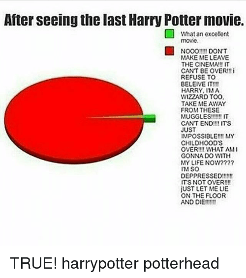 Harry Potter, Life, and Memes: After seeing the last Harry Potter movie.  What an excellent  movie.  Nooomt DONT  MAKE ME LEAVE  THE CINEMA!!! IT  CANT BE OVER!! i  REFUSE TO  BELEIVE IT!111  HARRY, MA  WIZZARD TOO  TAKE ME AWAY  FROM THESE  MUGGLES!!!!!! IT  CANT END!!! ITS  JUST  IMPOSSIBLE MY  CHILDHOOD'S  OVER!!! WHAT AM I  GONNA DO WITH  MY LIFE NOW?  IM SO  DEPPRESSED!!!!!!  ITS NOT OVER!!!  jUST LET ME LIE  ON THE FLOOR  AND DIET!!!11 TRUE! harrypotter potterhead