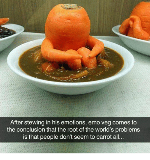 Emo, Memes, and 🤖: After stewing in his emotions, emo veg comes to  the conclusion that the root of the world's problems  is that people don't seem to carrot all..