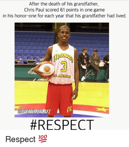 Chris Paul, Memes, and Respect: After the death of his grandfather,  Chris Paul scored 61 points in one game  in his honor-one for each year that his grandfather had lived.  3  GOVERTIMERUAYZ  Respect 💯