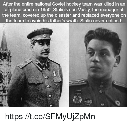 Stalinator: After the entire national Soviet hockey team was killed in an  airplane crash in 1950, Stalin's son Vasily, the manager of  the team, covered up the disaster and replaced everyone on  the team to avoid his father's wrath. Stalin never noticed https://t.co/SFMyUjZpMn