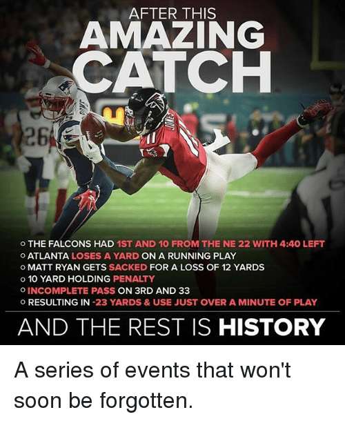 Memes, 🤖, and Matt Ryan: AFTER THIS  AMAZING  CATCH  o THE FALCONS HAD 1ST AND 10 FROM THE NE 22 WITH 4:40 LEFT  O ATLANTA LOSES A YARD ON A RUNNING PLAY  o MATT RYAN GETS  SACKED  FOR A LOSS OF 12 YARDS  o 10 YARD HOLDING PENALTY  o INCOMPLETE PASS  ON 3RD AND 33  O RESULTING IN  23 YARDS & USE JUST OVER A MINUTE OF PLAY  AND THE REST IS HISTORY A series of events that won't soon be forgotten.
