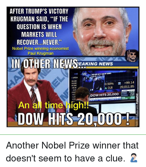 "Memes, News, and Nobel Prize: AFTER TRUMP'S VICTORY  KRUGMAN SAID, ""IF THE  QUESTION IS WHEN  MARKETS WILL  RECOVER...NEVER  Nobel Prize winning economist  Paul Krugman  IN OTHER NEWS  NEWS  0.50% +99.14  A DJI 20,011.85  A DOW HITS 20,OOO  02  10.95  DOW HITS 20,000 Another Nobel Prize winner that doesn't seem to have a clue. 🤦🏻‍♂️"