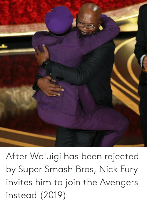 Smash Bros: After Waluigi has been rejected by Super Smash Bros, Nick Fury invites him to join the Avengers instead (2019)
