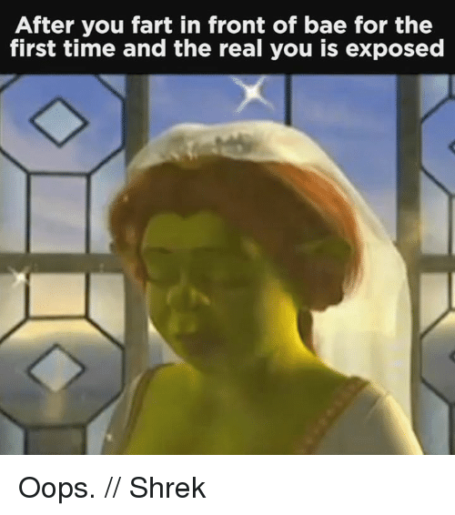 Exposion: After you fart in front of bae for the  first time and the real you is exposed Oops. // Shrek