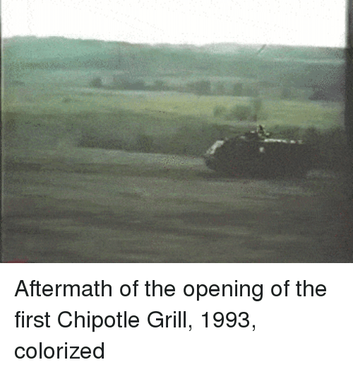 aftermath: Aftermath of the opening of the first Chipotle Grill, 1993, colorized