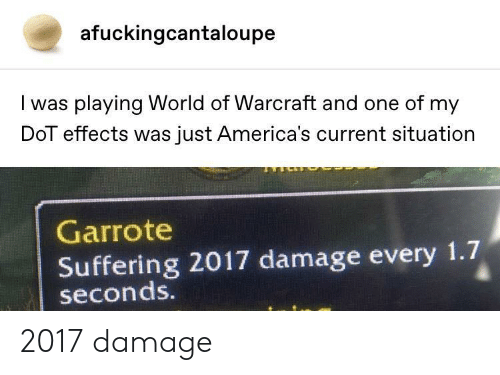 World of Warcraft: afuckingcantaloupe  I was playing World of Warcraft and one of my  DoT effects was just America's current situation  Garrote  Suffering 2017 damage every 1.7  seconds. 2017 damage
