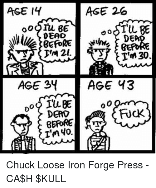 memes: AGE 26  AGE IY  aoSTUL BE  DEAD  DE  30  AGE 34  AGE 43  DEAD  BEFORE  I'm 40. Chuck Loose Iron Forge Press  -CA$H $KULL