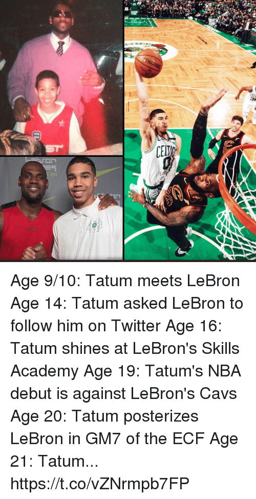 Cavs, Memes, and Nba: Age 9/10: Tatum meets LeBron Age 14: Tatum asked LeBron to follow him on Twitter Age 16: Tatum shines at LeBron's Skills Academy Age 19: Tatum's NBA debut is against LeBron's Cavs Age 20: Tatum posterizes LeBron in GM7 of the ECF Age 21: Tatum... https://t.co/vZNrmpb7FP