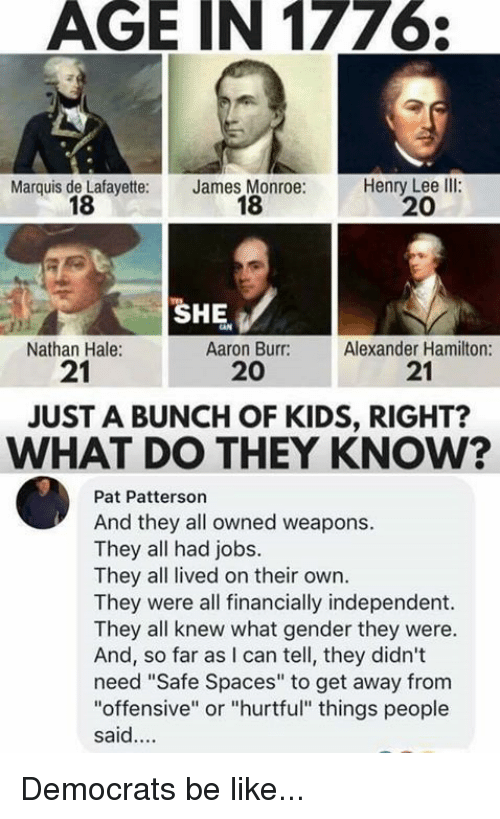 "Be Like, Memes, and Aaron Burr: AGE IN 177  Marquis de Lafayette:  18  James Monroe:  18  Henry Lee llI:  20  SHE  Nathan Hale:  21  Aaron Burr:  20  Alexander Hamilton:  21  JUST A BUNCH OF KIDS, RIGHT?  WHAT DO THEY KNOW?  Pat Patterson  And they all owned weapons.  They all had jobs.  They all lived on their own.  They were all financially independent.  They all knew what gender they were.  And, so far as I can tell, they didn't  need ""Safe Spaces"" to get away from  ""offensive"" or ""hurtful"" things people  said.... Democrats be like..."