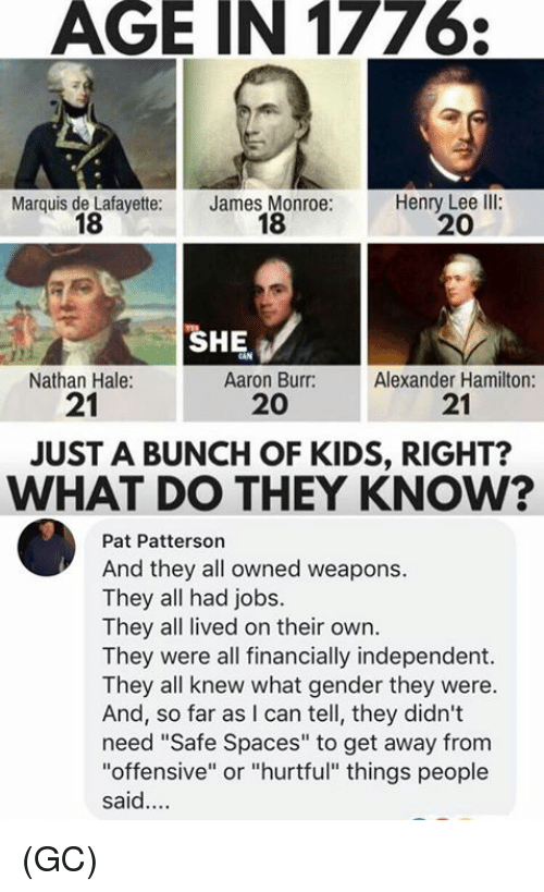 "Memes, Aaron Burr, and Jobs: AGE IN 1776  Marquis de Lafayette:  18  James Monroe:  18  Henry Lee llI:  20  SHE  Nathan Hale:  21  Aaron Burr:  20  Alexander Hamilton:  21  JUST A BUNCH OF KIDS, RIGHT?  WHAT DO THEY KNOW?  Pat Patterson  And they all owned weapons.  They all had jobs.  They all lived on their own.  They were all financially independent.  They all knew what gender they were.  And, so far as I can tell, they didn't  need ""Safe Spaces"" to get away from  ""offensive"" or ""hurtful"" things people  said. (GC)"