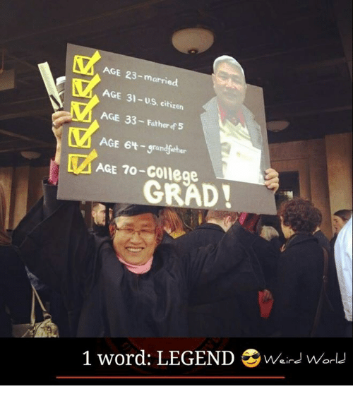 Memes, 🤖, and Legend: AGE -married.  AGE 31-us citizen  AGE 33-Father f5  AGE 64- grandfther  AGE To-College  GRAD!  1 word: LEGEND Were world