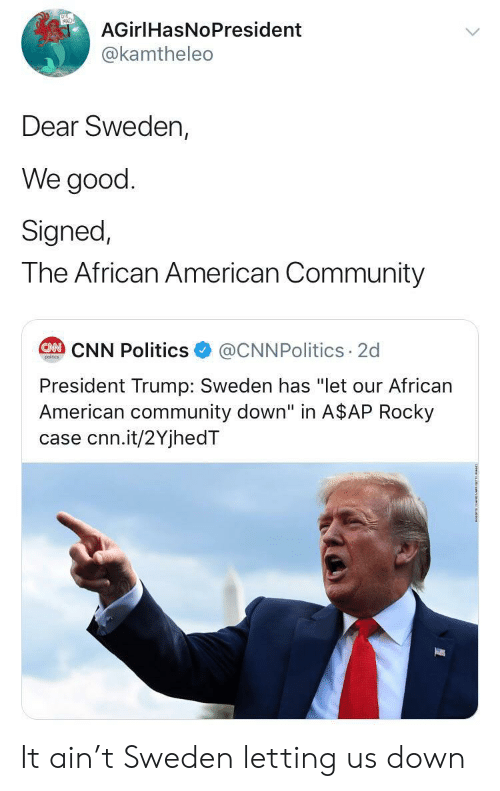 "african american: AGirlHasNoPresident  @kamtheleo  Dear Sweden,  We good  Signed,  The African American Community  @CNNPolitics 2d  CAN CNN Politics  poitcs  President Trump: Sweden has ""let our African  American community down"" in A$AP Rocky  case cnn.it/2YjhedT It ain't Sweden letting us down"
