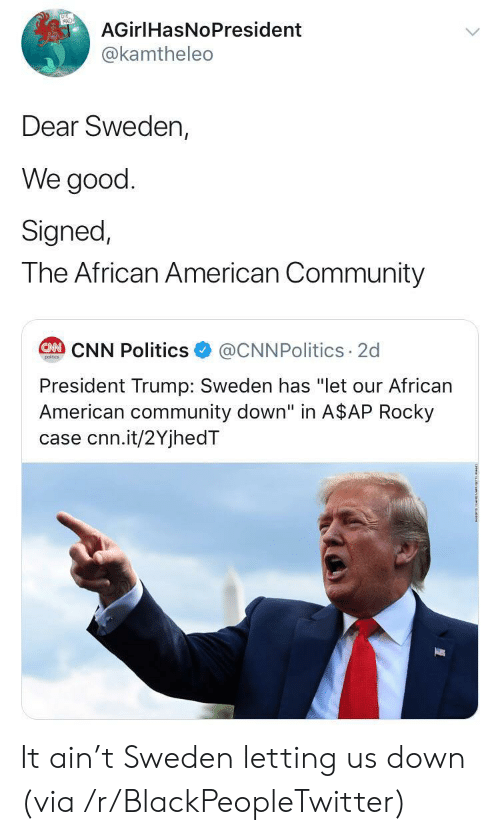"african american: AGirlHasNoPresident  @kamtheleo  Dear Sweden,  We good  Signed,  The African American Community  @CNNPolitics 2d  CAN CNN Politics  poitcs  President Trump: Sweden has ""let our African  American community down"" in A$AP Rocky  case cnn.it/2YjhedT It ain't Sweden letting us down (via /r/BlackPeopleTwitter)"
