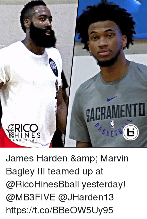 James Harden, Memes, and 🤖: AGRAMENT  HINES  A S KE T BAL L James Harden & Marvin Bagley III teamed up at @RicoHinesBball yesterday! @MB3FIVE @JHarden13 https://t.co/BBeOW5Uy95