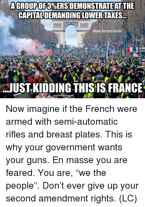 """Warfare: AGROUP OF 3%ERSDEMONSTRAT EAT THE  CAPITALDEMANDING LOWER TAXES.  Meme Warfare Center  JUST- KIDDING THISIS FRANCE Now imagine if the French were armed with semi-automatic rifles and breast plates. This is why your government wants your guns.  En masse you are feared.  You are, """"we the people"""". Don't ever give up your second amendment rights.  (LC)"""