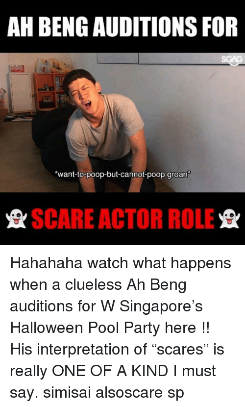 """i must say: AH BENG AUDITIONS FOR  want-to-poop-but-cannot-poop groan  SCARE ACTOR ROLE Hahahaha watch what happens when a clueless Ah Beng auditions for W Singapore's Halloween Pool Party here <link in bio>!! His interpretation of """"scares"""" is really ONE OF A KIND I must say. simisai alsoscare sp"""
