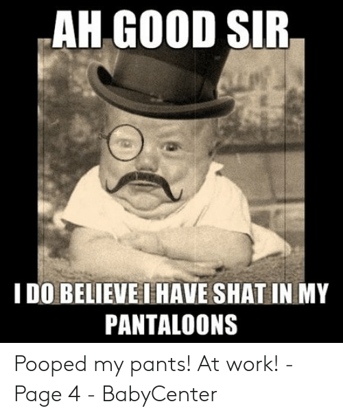Pooped My Pants Meme: AH GOOD SIR  I DO BELIEVE IHAVE SHAT IN MY  PANTALOONS Pooped my pants! At work! - Page 4 - BabyCenter