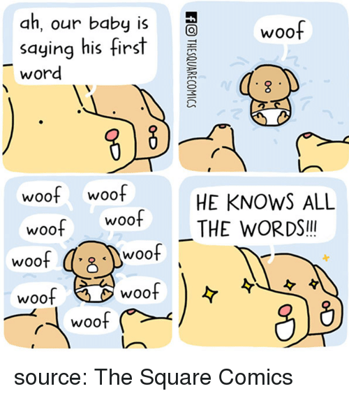 Square, Word, and Comics: ah, our baby is  saying his tirs  word  woof  woof woof  HE KNOWS ALL  wootTHE WORDS.  woo  woof  woof  woof  woof source: The Square Comics